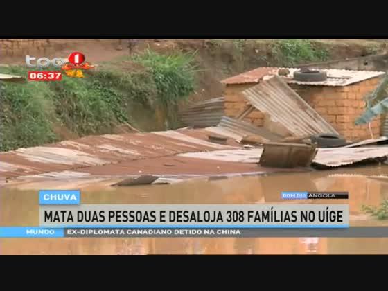 Chuva mata duas pessoas e desaloja 308 famílias no Uíge